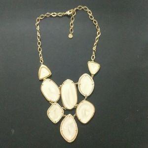 Stella & Dot Fiona Cream & Gold Tone Bib Necklace
